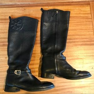 Tory Burch: knee length black leather boots (8.5)